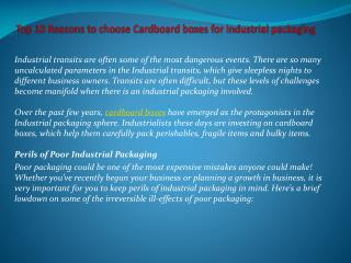 Top 10 Reasons to choose Cardboard boxes for Industrial packaging