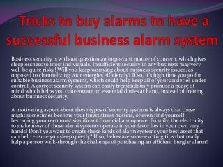 Tricks to buy alarms to have a successful business alarm system