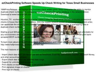 ezCheckPrinting Software Speeds Up Check Writing for Texas Small Businesses