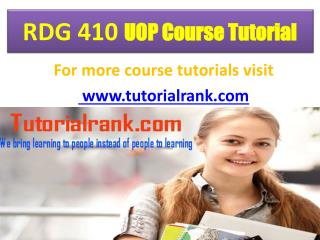 RDG 410  uop  course tutorial/tutorial rank