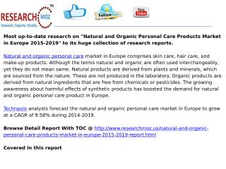 Natural and Organic Personal Care Products Market in Europe 2015-2019