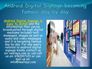 Android Digital Signage becoming famous day by day