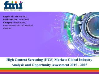 Global High Content Screening (HCS) Market Anticipated to be Worth US$ 382.9 Mn by 2020