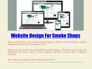 Vapor Shop Website Design
