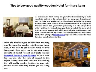 Tips to buy good quality wooden Hotel furniture items