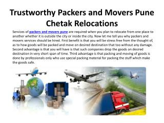 Trustworthy Packers and Movers Pune Chetak Relocations