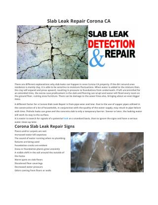 Slab Leak Repair Corona CA