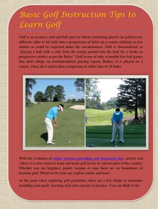 Basic Golf Instruction Tips to Learn Golf