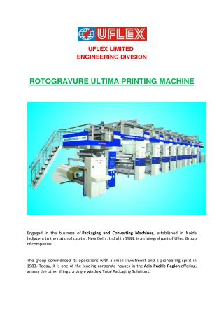 Leading supplier of Rotogravure Printing Machine upress (els), Pouch printing machine