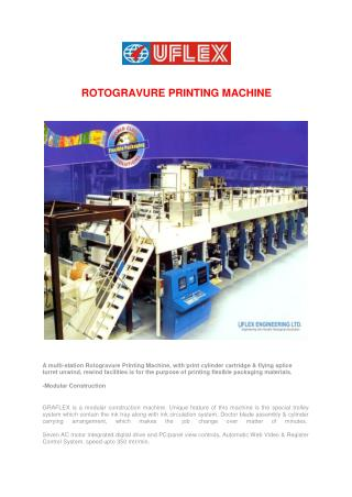 Manufacture of GraflexRotogravure Printing Machine, Pouch printing machine