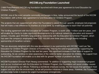 IHCOM.org Foundation Launched