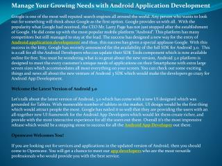 Manage Your Growing Needs with Android Application Developme