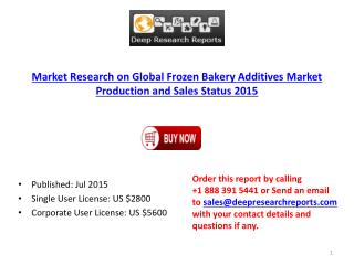 2015 Global Frozen Bakery Additives Industry Key Supplier Analysis Report