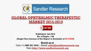 2019 World Ophthalmic Therapeutic Industry by Market Size, Trends, Drivers and Growth Opportunities Analysis and Forecas