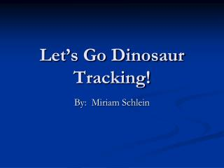 Let s Go Dinosaur Tracking