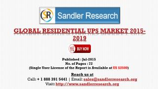 World Residential UPS Market to Grow at 6% CAGR to 2019 Says a New Research Report
