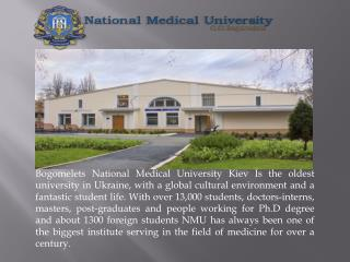 The O. Bogomolets National Medical University is Top Most University in Ukraine