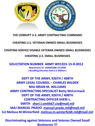 Blog 22 USMC 20150725 SOLICITATION NUMBER ARMY   W912D1-15-R-0012 - Attachment 15  USA005386-13-  DPAP ( Bundling Direct