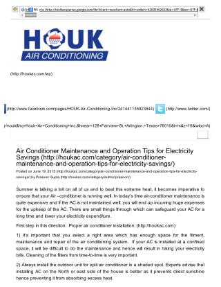 Air Conditioner Maintenance and Operation Tips for Electricity Savings