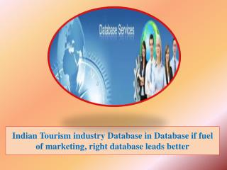 Indian Tourism industry Database in Database if fuel of marketing, right database leads better