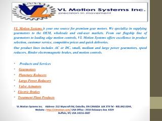 VL Motion Systems Inc-precision in movement