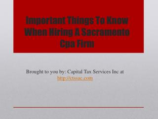Important Things To Know When Hiring A Sacramento Cpa Firm