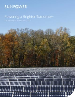 SUNPOWER SUSTAINABILITY REPORT