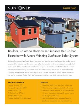 Boulder, Colorado Homeowner Reduces Her Carbon Footprint with Award-Winning SunPower Solar System