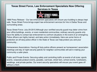 Texas Street Force, Law Enforcement Specialists Now Offering Services in Texas
