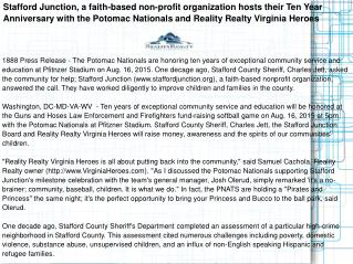 Stafford Junction, a faith-based non-profit organization hosts their Ten Year Anniversary with the Potomac Nationals and