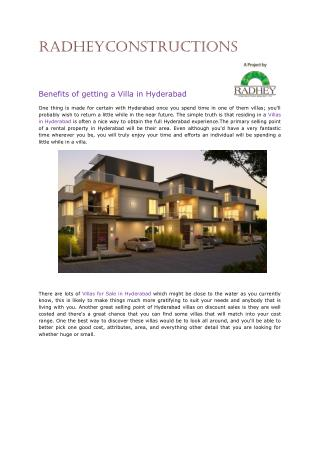 Luxury Villas in Hyderabad.