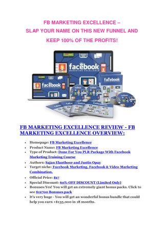 FB Marketing Excellence review-FB Marketing Excellence (MEGA) $23,800 bonuses