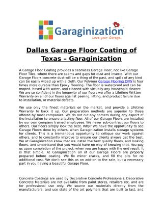 Dallas Garage Floor Coating of Texas – Garaginization
