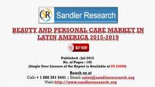 North America – Beauty and Personal Care Market Growth Report to 2019