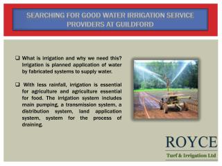 Searching For Good Water Irrigation Service Providers At Guildford?