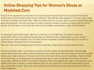 Online Shopping Tips for Women's Shoes at Madelast.Com