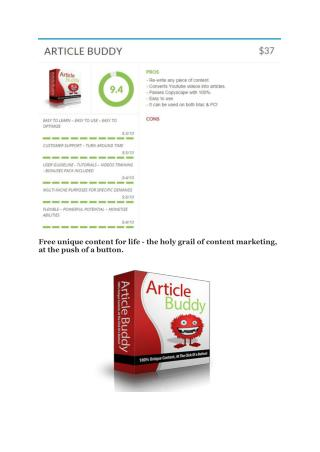 Article Buddy 3.0 review demo & BIG bonuses pack