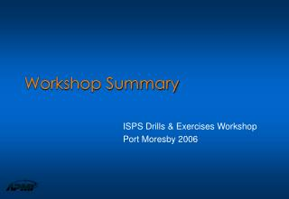 Workshop Summary