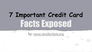 Important Credit Card Facts Exposed