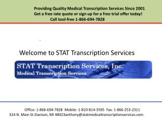 Mental health transcription services for behavioral health