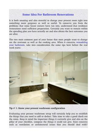 Some Idea For Bathroom Renovations