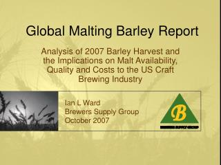 Global Malting Barley Report