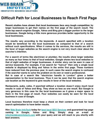 Difficult Path for Local Businesses to Reach First Page
