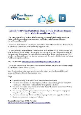 Enteral Feed Devices Market Size, Share, Growth, Trends and Forecast 2015