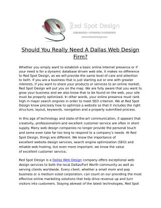 Should You Really Need A Dallas Web Design Firm?