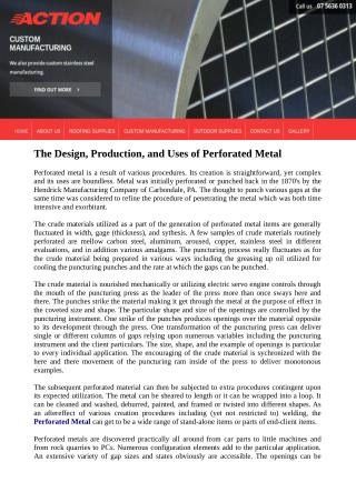 The Design, Production, and Uses of Perforated Metal