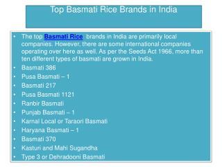 Top Basmati Rice Brands in India