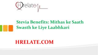 Janiye Stevia Benefits in Hindi Aur Rahiye Swasth