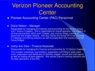 Verizon Pioneer Accounting Center