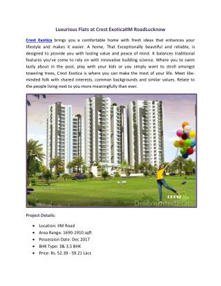 Crest Exotica at IIM Road Lucknow by Rishita Developers